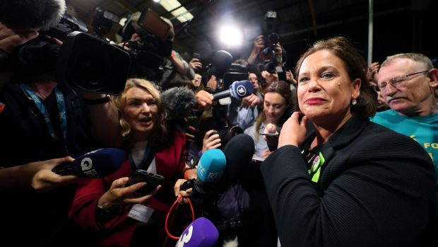 Sinn Fein leader Mary Lou McDonald arrives at the count centre in Dublin's RDS. Photograph: Brian Lawless/PA Wire