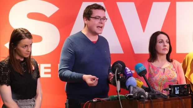 Abigale Malone (left), John McGuirk and Niamh Ui Bhriain at the final Save the 8th press conference in Dublin. Photograph: Niall Carson/PA