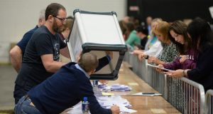 Votes are counted at the Citywest count centre in Dublin.  Photograph: Dara Mac Dónaill/The Irish Times