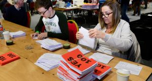 Votes are counted at the RDS during the Abortion Referendum count. Photograph: Cyril Byrne/The Irish Times