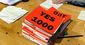 The final result indicated that       27,194 voters said Yes and 18,054 voted No. Photograph: Cyril Byrne/The Irish Times
