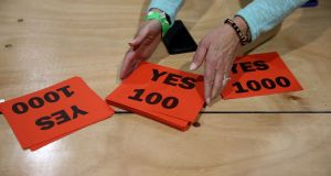 Yes cards are seen at a count centre. Photograph: PA