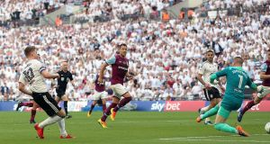 Fulham's Tom Cairney  scores his side's  goal  during the Sky Bet Championship playoff final against Aston Villa at Wembley Stadium. Photograph: Nigel French/PA Wire