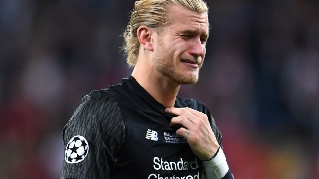 Loris Karius reacts to his team's defeat in Kiev. Photograph: Laurence Griffiths/Getty Images