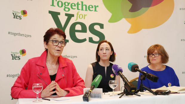 Co-directors of Together For Yes (left to right) Ailbhe Smyth, Gráinne Griffin and Orla O'Connor hold a final press conference in Dublin. Photograph: Niall Carson/PA