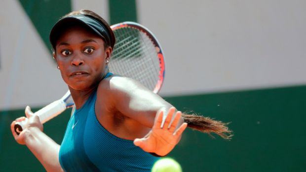 Sloane Stephens plays a return to Arantxa Rus during their women's singles first-round match on day one of The French Open at Roland Garros in Paris. Photograph: Thomas Samson/AFP/Getty Images