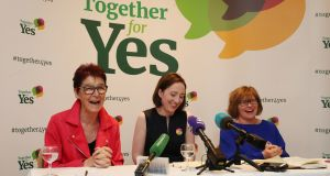 The three co-directors of Together For Yes, from left,  Ailbhe Smyth, Grainne Griffin and Orla O'Connor. Photograph: Niall Carson/PA Wire