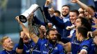 Leinster's Isa Nacewa lifts the trophy as he celebrates victory in the Pro14 final over Scarlets at the Aviva Stadium, his final game for the province. Photograph:  James Crombie/Inpho