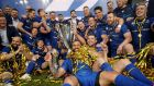 Leinster captain Isa Nacewa celebrates with his Leinster team-mates after beating Scarlets in the Pro14 final. Photograph:  Dan Sheridan/Inpho