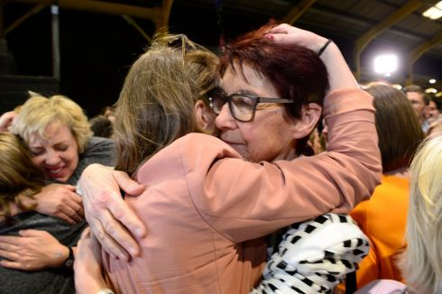 Ivana Bacik and Ailbhe Smyth embracing at  the RDS during   the Abortion Referendum  count..Photograph:  Cyril Byrne / The Irish Times