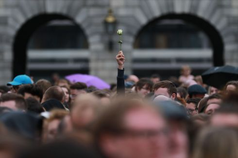 Referendum on the Thirty-Sixth Amendment of the Constitution Bill 2018 - A Single Rose in the crowd at Dublin Castle as the gathered crowd celebrated the YES vote this evening.  Photograph Nick Bradshaw