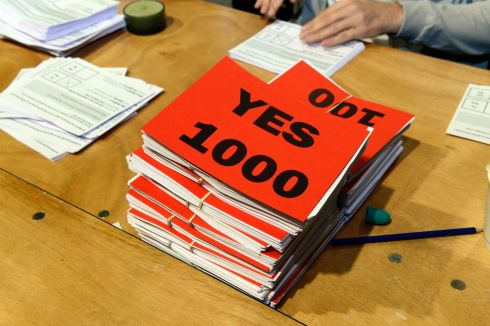 Votes  at the RDS during  the Abortion Referendum  count..Photograph:  Cyril Byrne / The Irish Times
