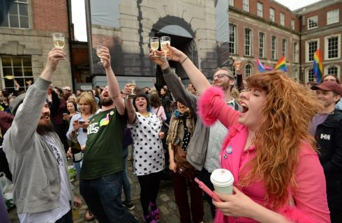 Celebrations as results announced at the central count centre for the Referendum on the Thirty-Sixth Amendment of the Constitution Bill 2018, in Dublin Castle. Photograph: Dara Mac Donaill / The Irish Times