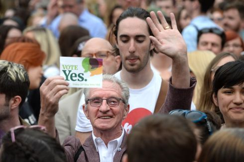 Support at the central count centre for the Referendum on the Thirty-Sixth Amendment of the Constitution Bill 2018, in Dublin Castle. Photograph: Dara Mac Donaill / The Irish Times