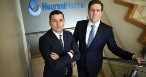 Neurent Medical founders David Townley, chief technology officer and Brian Shields, chief executive: The company hopes to begin the first of two clinical trials next year, possibly in the US. Photograph: Michael Dillon