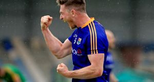 Michael Quinn celebrates Longford's win over Meath. Photograph: Inpho