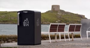 One of the Big Belly bins in Dalkey, Co Dublin. Photograph: Cyril Byrne / THE IRISH TIMES