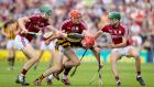 Galway's Cathal Mannion, Conor Whelan and Brian Concannon in action against  James Maher of Kilkenny.   Photograph: Oisín Keniry
