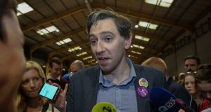 Minister for Health Simon Harris  during the Eighth Amendment referendum count at the RDS, Dublin. Photograph: Gareth Chaney/Collins