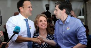 Leo Varadkar (left),  Catherine Noone and Simon Harris: both Mr Varadkar and Mr Harris are eager to move quickly on the new legislation. Photograph: Brian Lawless/PA Wire
