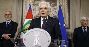 Italian president Sergio Mattarella addresses the media after meeting Italy's premier-designate Giuseppe Conte in Rome. Mr  Mattarella said he refused to approve populist leaders' choice of an economy minister –  Paolo Savona – who has expressed anti-euro views. Photograph: Fabio Frustaci/EPA