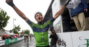 Luuc Bugter celebrates after winning the Rás by one second. Photograph:  ©INPHO/Bryan Keane