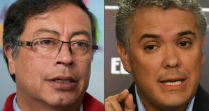 Colombian presidential candidates Gustavo Petro  and    Ivan Duque. Photographs: Raul Arboleda and Luis Acosta /AFP/Getty Images