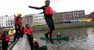 Some of the students who kayakedfrom Islandbridge down the Liffey to the Docklands
