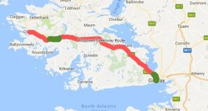 The Connemara greenway is set to run between Galway and Clifden. The 6km Athry to Cloonbeg section (marked in green),  near Ballynahinch Castle north of Roundstone,  opened on Monday.