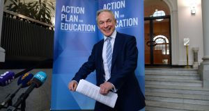 Minister for Education Richard Bruton announcing plans to reform of school admissions at Government Buildings, Dublin earlier this month. Photograph: Dara Mac Dónaill