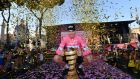 Team Sky's Chris Froome poses with the trophy after he won the Giro d'Italia in Rome. Photo: Daniel Dal Zennaro/EPA