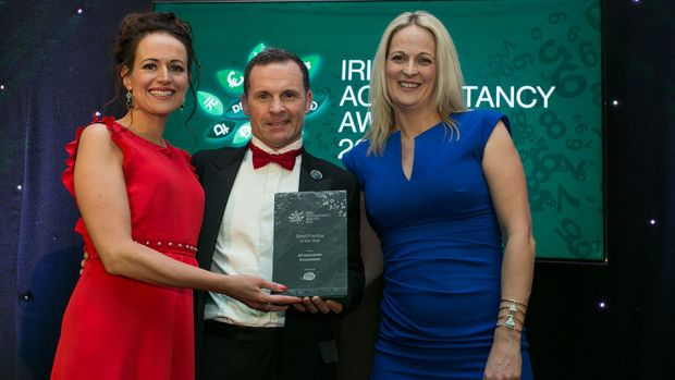 Marc O'Dwyer, CEO, Big Red Cloud presents the Small Practice of the Year Award to Angela O'Leary and Mairead Crowley