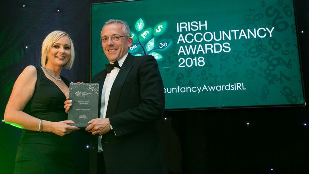 Aileen McCarney, Associate Director, Morgan McKinley presents the Finance Team of the Year award to Ian Mathews, The University of Dublin, Trinity College