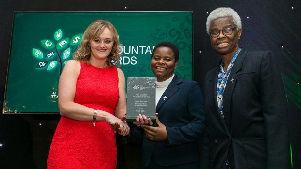 Gillian Peters, Business Development Director, CPA Ireland presents the Part- Qualified Accountant of the Year award to Lovina Ngozi Okoli and Sabina Anokwu, Missionary Sisters of the Holy Rosary