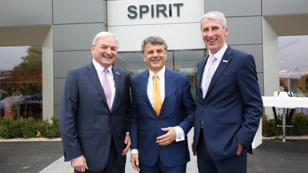 Dr Ralf Speth (centre) with Declan McCourt and Gerard O'Farrell of OHM, which operates the Spirit Motor Group, in Dublin