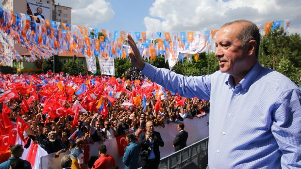 Turkish president Recep Tayyip Erdogan greeting the crowd at an election campaign rally of his AK Party in Isparta, Turkey, on May 27th, 2018. Photograph: Presidential Press Office/EPA