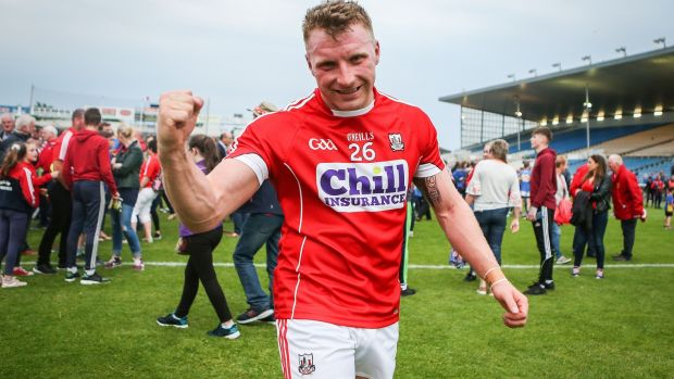 Cork's Brian Hurley celebrates after his side's semi-final win over Tipperary at Semple Stadium. Photograph: Oisin Keniry/Inpho
