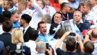 Coventry City's Michael Doyle celebrates with the trophy after the Sky Bet League Two Final at Wembley Stadium, London. Photo: Mike Egerton/PA Wire