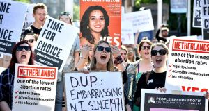 Campaigners are pictured during a rally calling for abortion rights outside Belfast City Hall on Monday. Photograph: Charles McQuillan/Getty Images.
