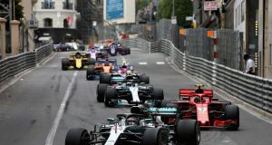 Lewis Hamilton of Great Britain in Team Mercedes  leads Kimi Raikkonen of Finland  during the Monaco Formula One Grand Prix  in Monte Carlo on Sunday. The race was won by Red Bull's Daniel Ricciardo. Photograph: Charles Coates/Getty Images