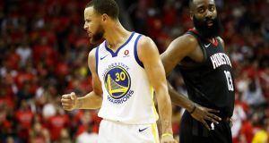 Stephen Curry during game seven of the Western Conference finals in Houston, Texas. Photograph: Getty Images