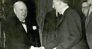 Undated photograph of Éamon de Valera (right) meeting Winston Churchill. Photograph: Royal Irish Academy/PA Wire