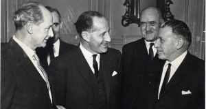 From left, Jack Lynch, minister for industry and commerce, Terence O'Neill, prime minister of Northern Ireland, Frank Aiken, minister for external affairs, and taoiseach Seán Lemass at Iveagh House, Dublin, in February 1965. Photograph: Joe Clarke