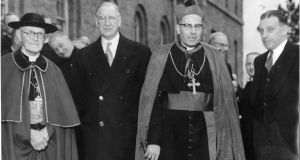 From left: Dr Thomas Morris, archbishop of Cashel, president Éamon de Valera, Cardinal John D'Alton and taoiseach Seán Lemass at Dr Morris's consecration at Thurles Cathedral in February 1960. Photograph: Gordon Standing