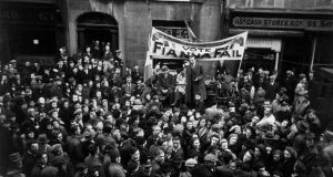 Seán Lemass addresses an election rally in Dublin in 1943. Photograph: Haywood Magee/Getty Images