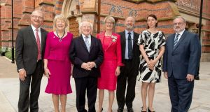 Prof James McElnay QUB,  Sabina Higgins, President Michael D Higgins, Anthea Smyth, Deputy Lord Lieut Belfast, Prof John Brewer  QUB,  Anne Mutanen, Embassy of Finland, and Kevin Conmy, Dept of Foreign Affairs. Photograph: Andrew Towe Parkway QUB