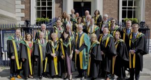 New members admitted to the Royal Irish Academy, pictured outside the academy on Dawson Street, Dublin. Photograph: John Ohle
