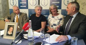 Lucia O'Farrell, mother of Shane O'Farrell (second from right),  appealing for an inquiry into the circumstances leading up to her son's death.  Photograph: Mark Hilliard / The Irish Times