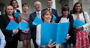 Health committee chairwoman Róisín Shortall TD with health committee members during the launch of the Sláintecare report.  Photograph: Gareth Chaney Collins