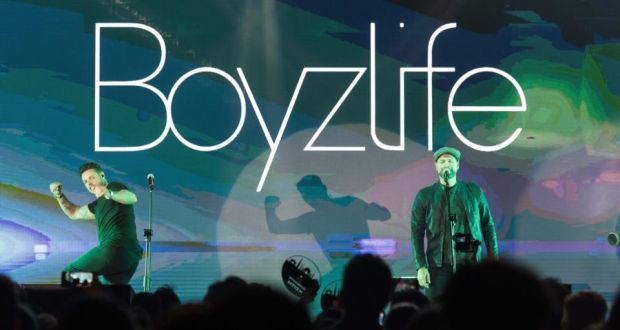 Boyzlife: Keith Duffy and Brian McFadden performing in Mumbai this month. Photograph: Aalok Soni/Hindustan Times via Getty